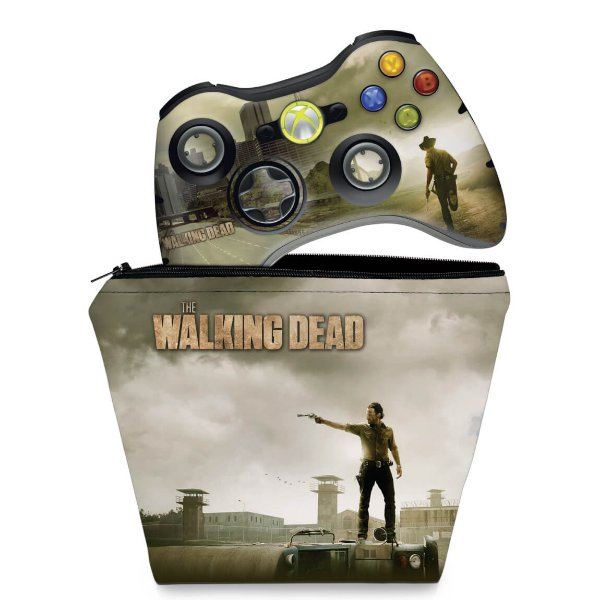 KIT Capa Case e Skin Xbox 360 Controle - The Walking Dead #b