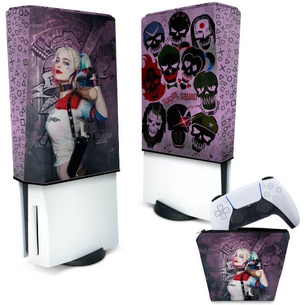 KIT Capa PS5 e Case Controle - Arlequina Harley Quinn