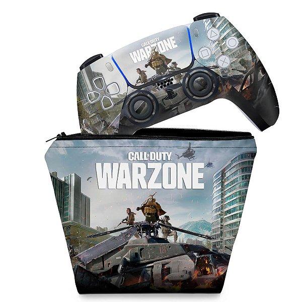 KIT Capa Case e Skin PS5 Controle - Call of Duty Warzone