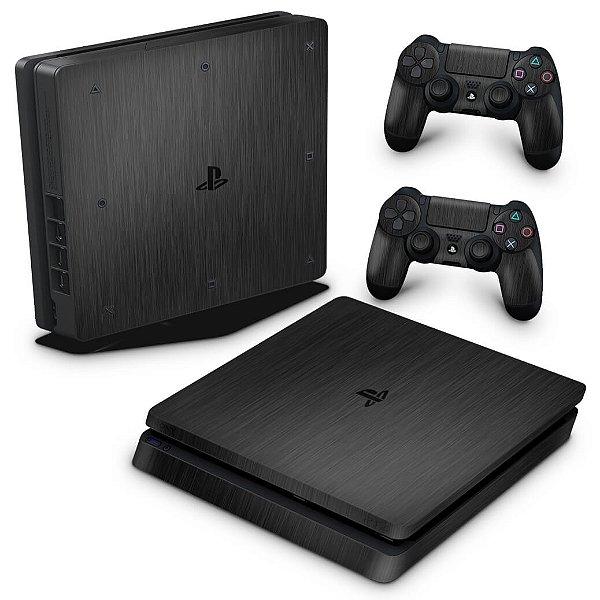 PS4 Slim Skin - Aço Escovado Preto