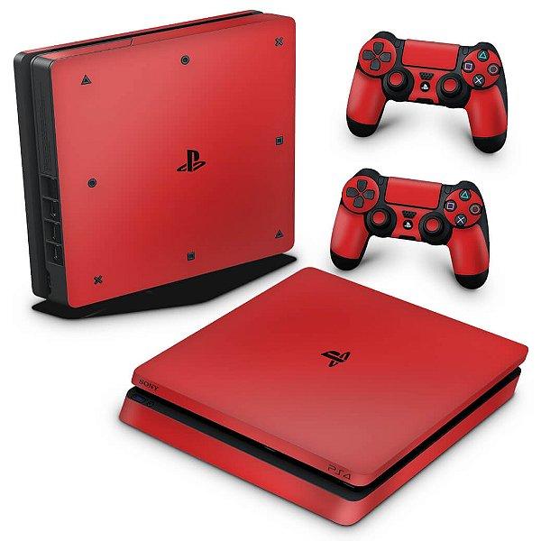 PS4 Slim Skin - Vermelho
