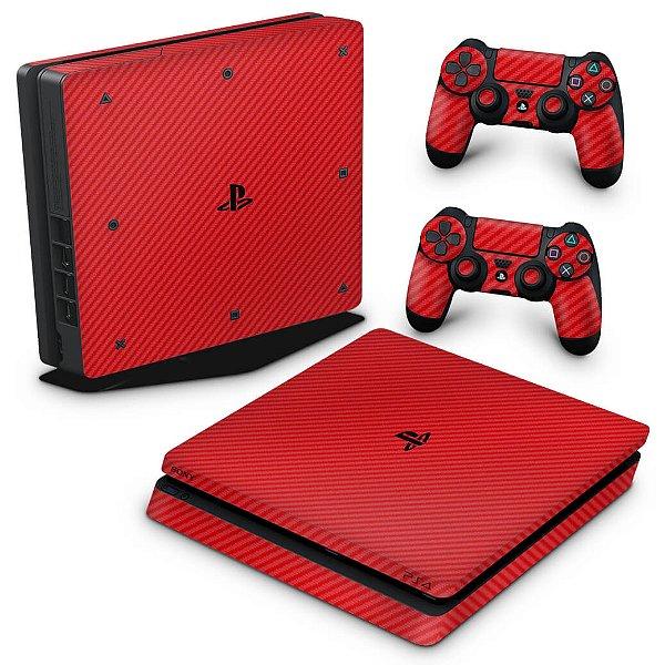 PS4 Slim Skin - Fibra de carbono Vermelho