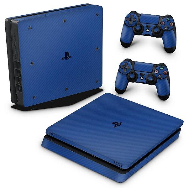 PS4 Slim Skin - Fibra de carbono Azul