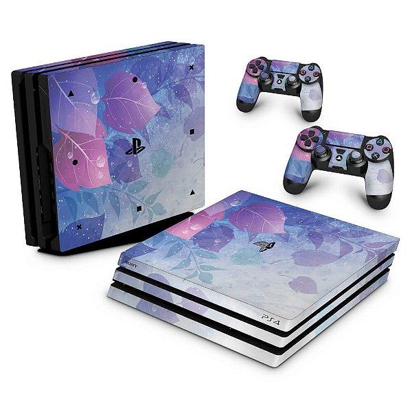 PS4 Pro Skin - Folhas Lilás