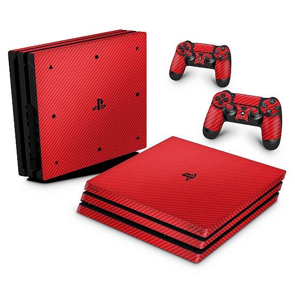 PS4 Pro Skin - Fibra de Carbono Vermelho