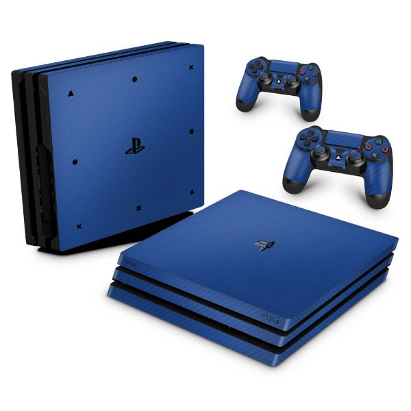 PS4 Pro Skin - Fibra de Carbono Azul
