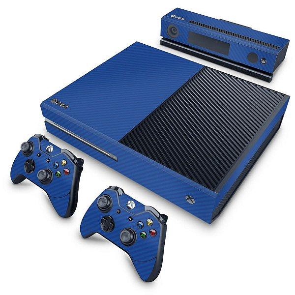 Xbox One Fat Skin - Fibra de Carbono Azul