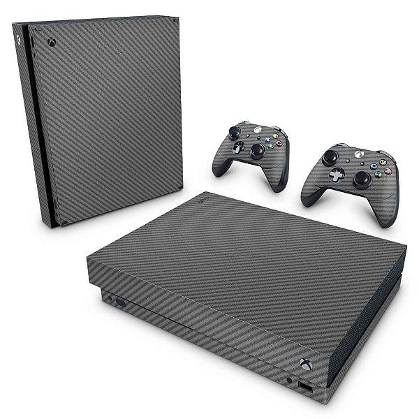 Xbox One X Skin - Fibra de Carbono Cinza Grafite