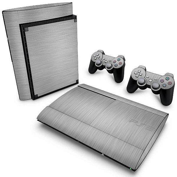 PS3 Super Slim Skin - Aço Escovado Prateado