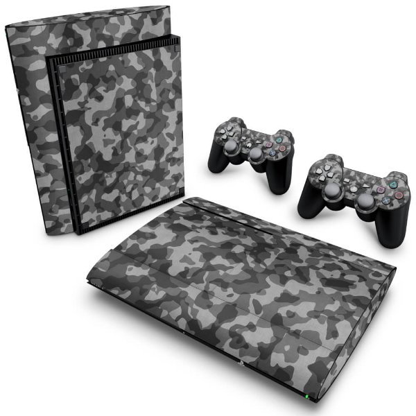 PS3 Super Slim Skin - Camuflado Cinza