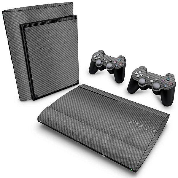 PS3 Super Slim Skin - Fibra de Carbono Cinza Grafite