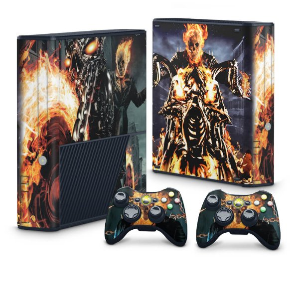 Xbox 360 Super Slim Skin - Ghost Rider - Motoqueiro Fantasma #A