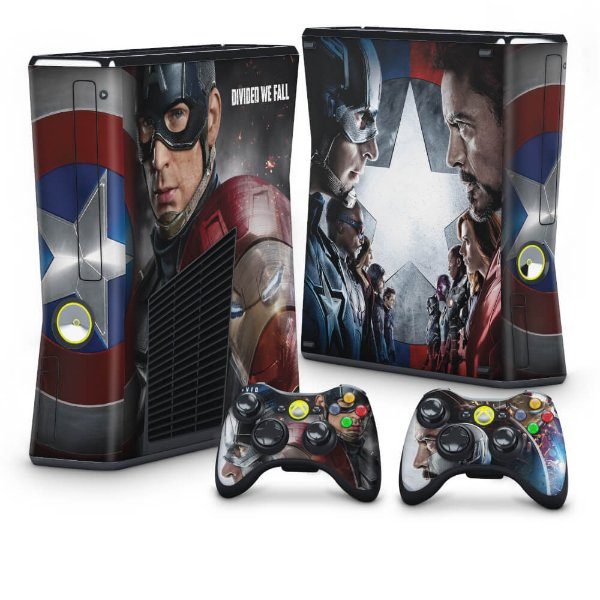 Xbox 360 Slim Skin - Capitão America Guerra Civil