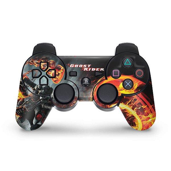 PS3 Controle Skin - Ghost Rider Motoqueiro #b