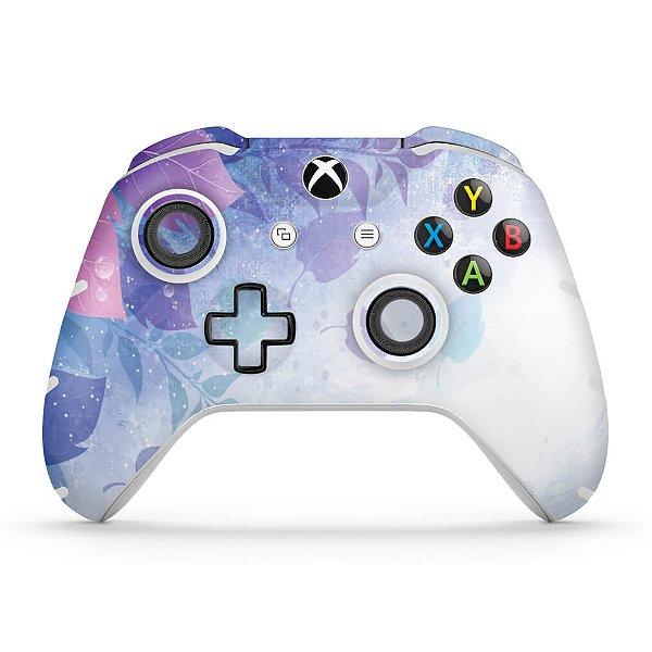 Skin Xbox One Slim X Controle - Folhas Lilás