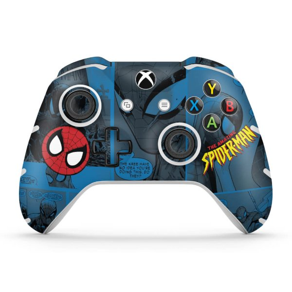 Skin Xbox One Slim X Controle - Homem-Aranha Spider-Man Comics