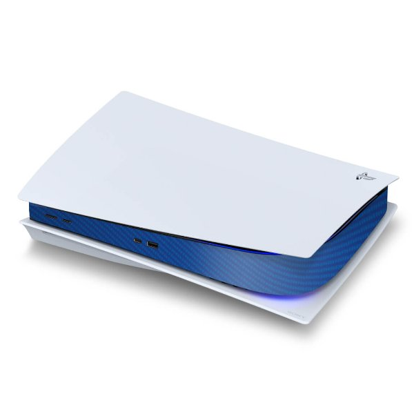PS5 Central Skin - Fibra de Carbono Azul
