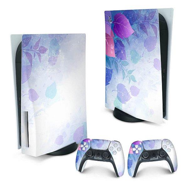 PS5 Skin - Folhas Lilás