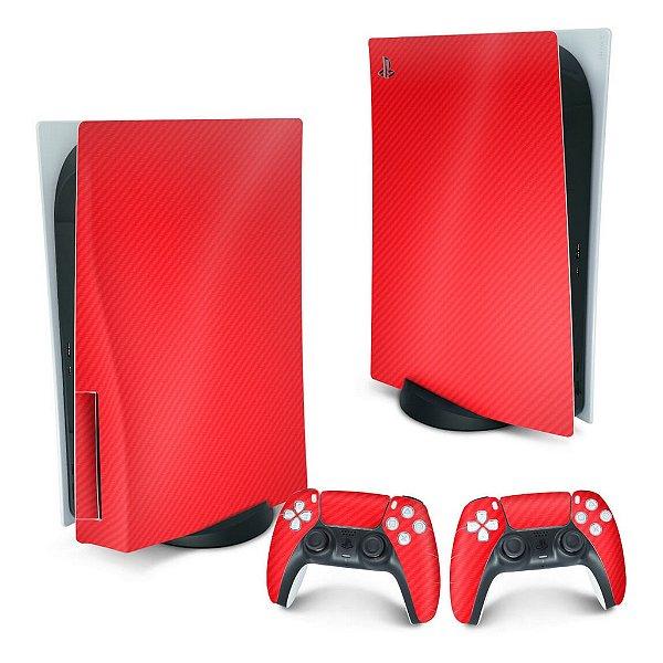 PS5 Skin - Fibra de Carbono Vermelho