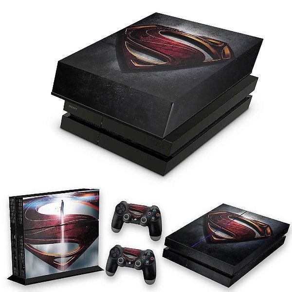 KIT PS4 Fat Skin e Capa Anti Poeira - Superman - Super Homem