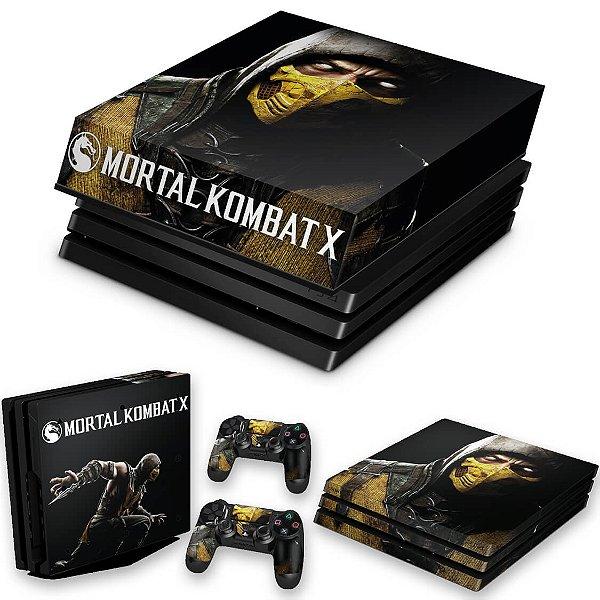 KIT PS4 Pro Skin e Capa Anti Poeira - Mortal Kombat X