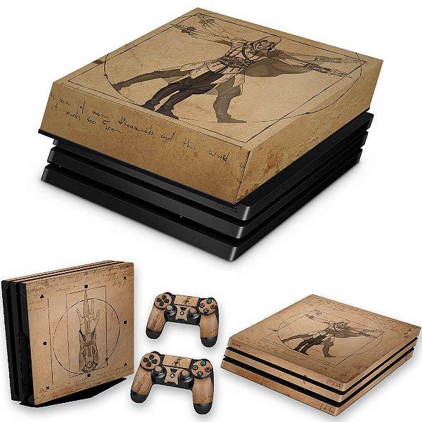 KIT PS4 Pro Skin e Capa Anti Poeira - Assassin'S Creed Vitruviano