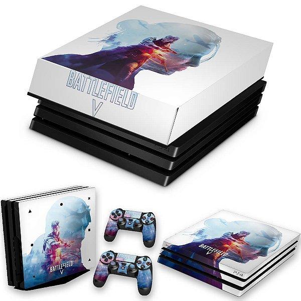 KIT PS4 Pro Skin e Capa Anti Poeira - Battlefield V