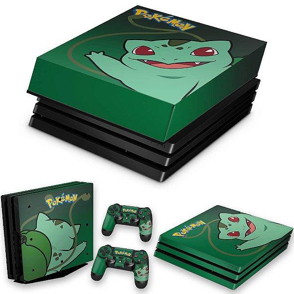 KIT PS4 Pro Skin e Capa Anti Poeira - Pokemon Bulbasaur