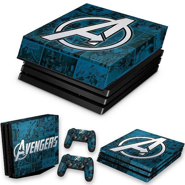 KIT PS4 Pro Skin e Capa Anti Poeira - Avengers Vingadores Comics