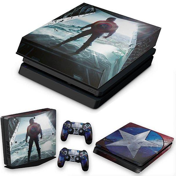 KIT PS4 Slim Skin e Capa Anti Poeira - Capitao America