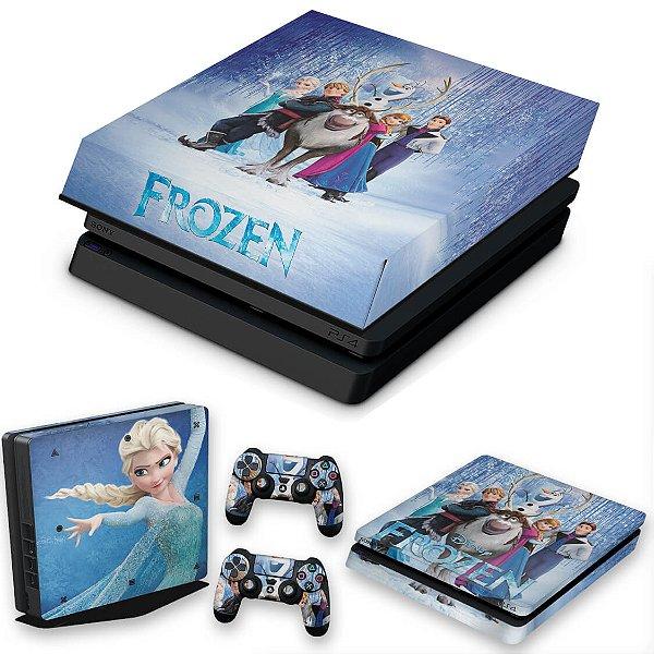 KIT PS4 Slim Skin e Capa Anti Poeira - Frozen