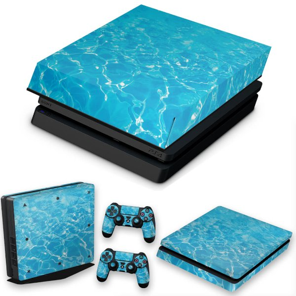 KIT PS4 Slim Skin e Capa Anti Poeira - Aquático Água