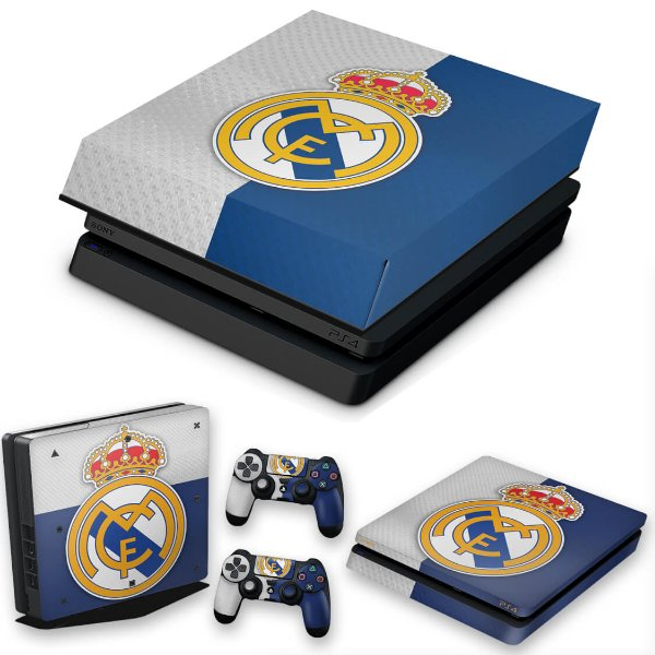 KIT PS4 Slim Skin e Capa Anti Poeira - Real Madrid