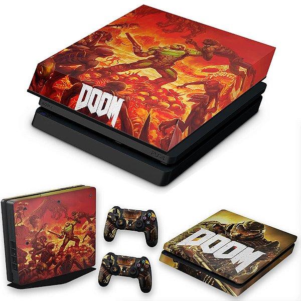 KIT PS4 Slim Skin e Capa Anti Poeira - Doom