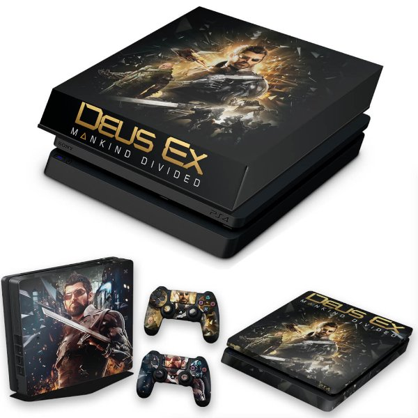 KIT PS4 Slim Skin e Capa Anti Poeira - Deus Ex: Mankind Divided