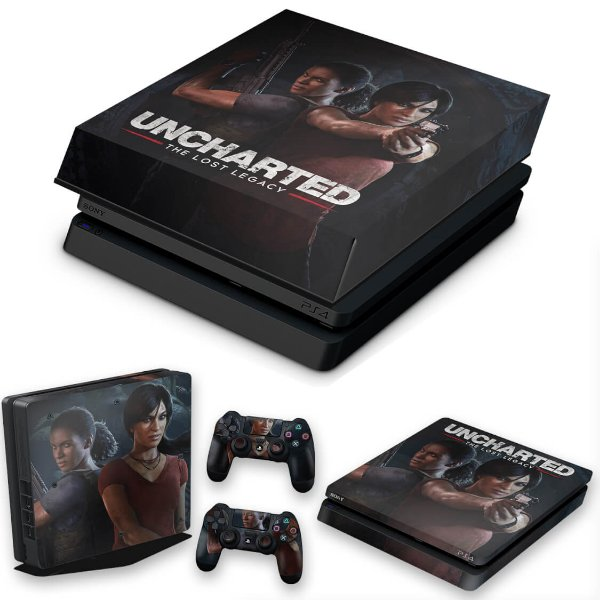 KIT PS4 Slim Skin e Capa Anti Poeira - Uncharted Lost Legacy