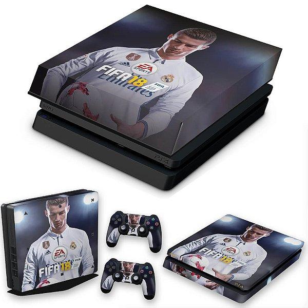 KIT PS4 Slim Skin e Capa Anti Poeira - Fifa 18