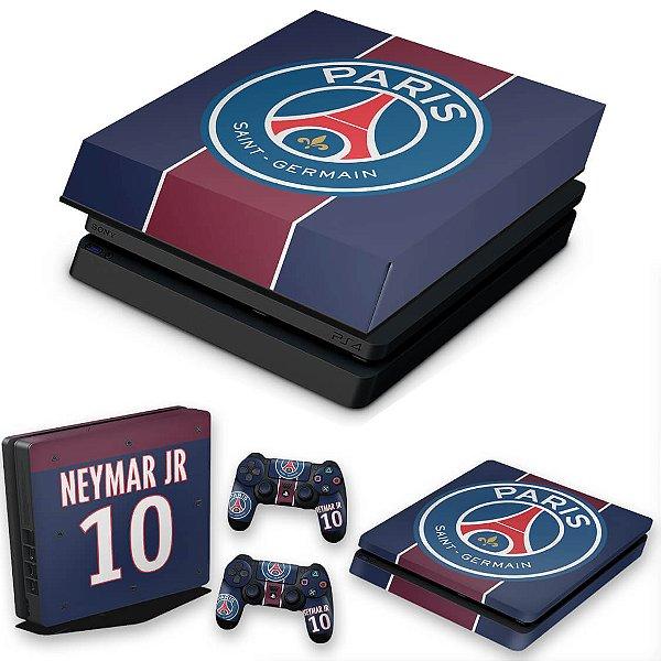 KIT PS4 Slim Skin e Capa Anti Poeira - Paris Saint Germain Neymar Jr Psg
