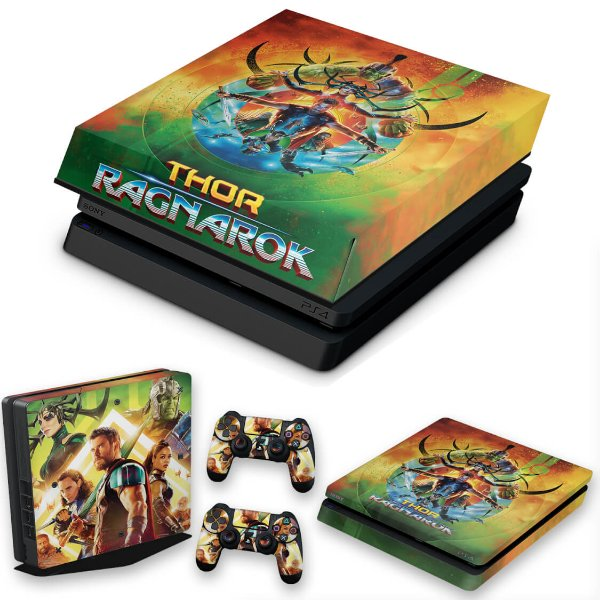 KIT PS4 Slim Skin e Capa Anti Poeira - Thor Ragnarok