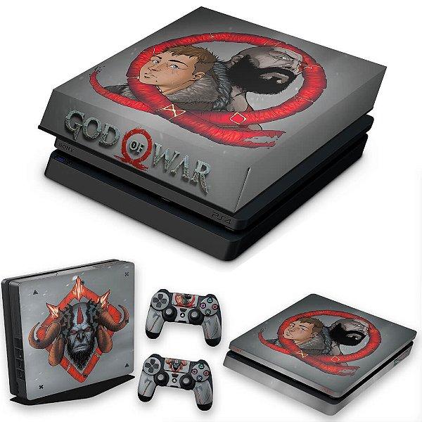 KIT PS4 Slim Skin e Capa Anti Poeira - God Of War 4