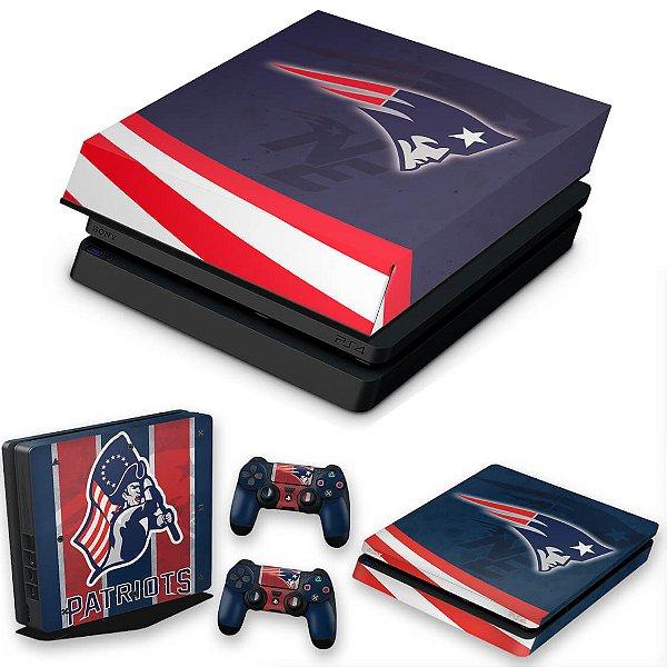 KIT PS4 Slim Skin e Capa Anti Poeira - New England Patriots Nfl