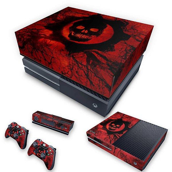KIT Xbox One Fat Skin e Capa Anti Poeira - Gears of War - Skull