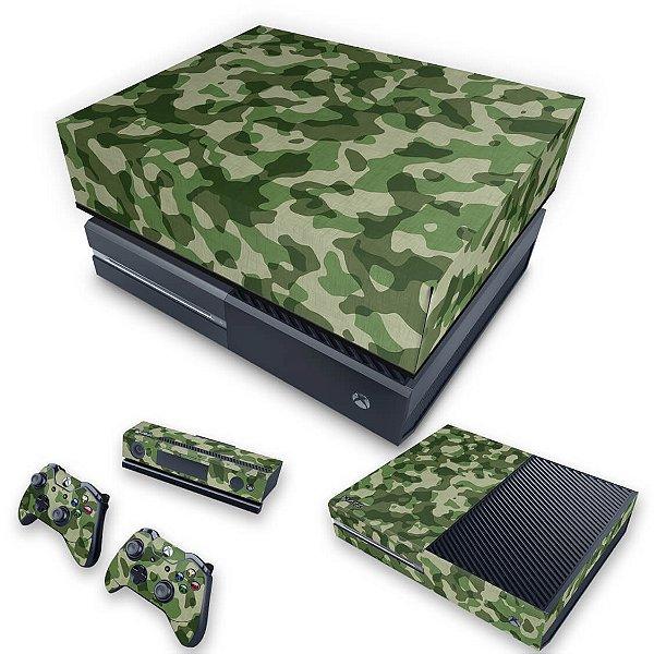 KIT Xbox One Fat Skin e Capa Anti Poeira - Camuflagem Verde
