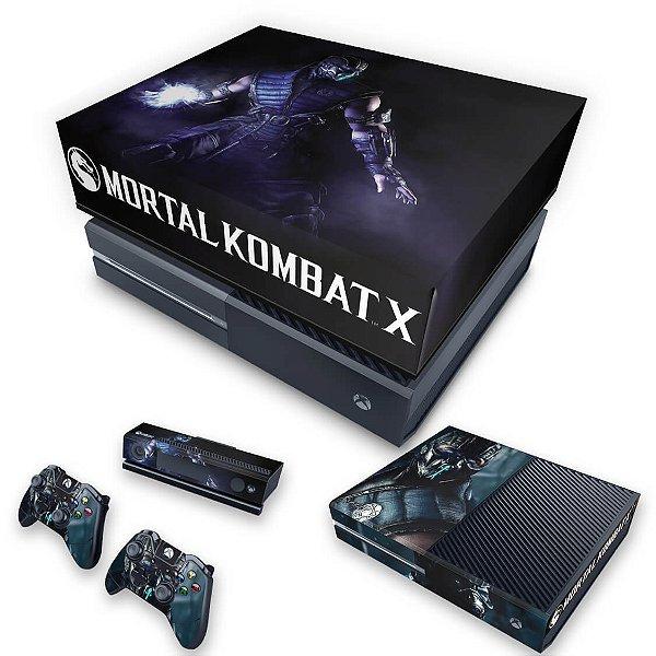 KIT Xbox One Fat Skin e Capa Anti Poeira - Mortal Kombat X - Subzero