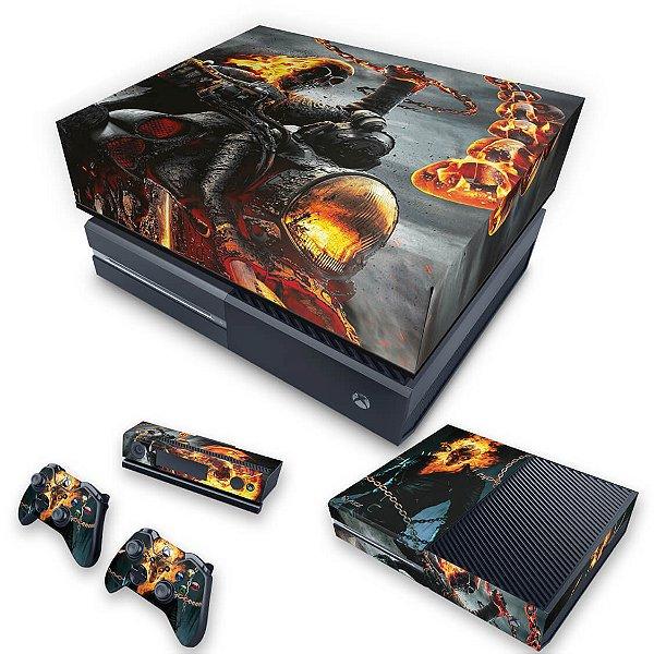 KIT Xbox One Fat Skin e Capa Anti Poeira - Ghost Rider - Motoqueiro Fantasma #B