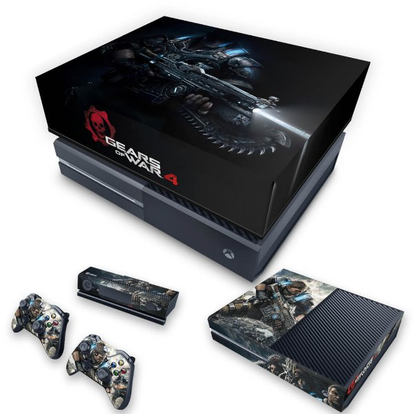 KIT Xbox One Fat Skin e Capa Anti Poeira - Gears of War 4