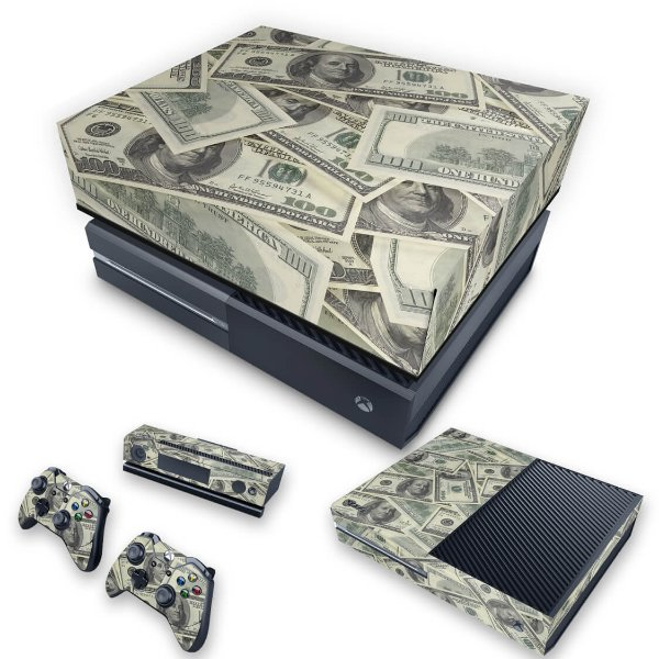 KIT Xbox One Fat Skin e Capa Anti Poeira - Dollar Money Dinheiro