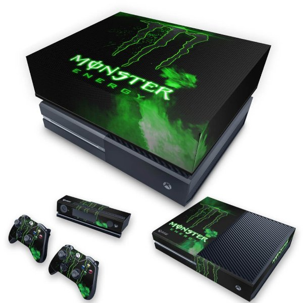 KIT Xbox One Fat Skin e Capa Anti Poeira - Monster Energy Drink