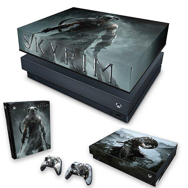 KIT Xbox One X Skin e Capa Anti Poeira - Skyrim