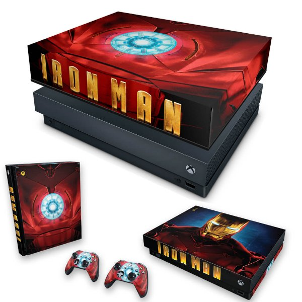 KIT Xbox One X Skin e Capa Anti Poeira - Iron Man - Homem de Ferro